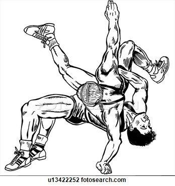 Wrestler front stance clipart