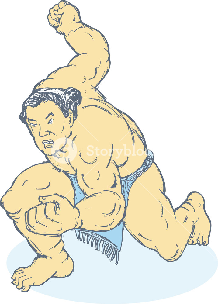 Wrestler front stance clipart picture freeuse Japanese Sumo Wrestler Fighting Stance Royalty-Free Stock ... picture freeuse