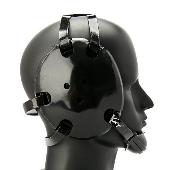 Geyi Black Wrestling Headgear with chin cup banner free stock