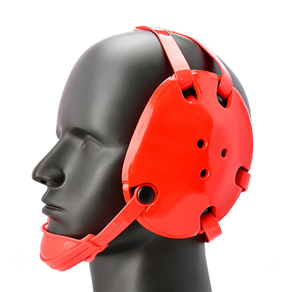 Geyi Red Wrestling Headgear with chin cup freeuse stock