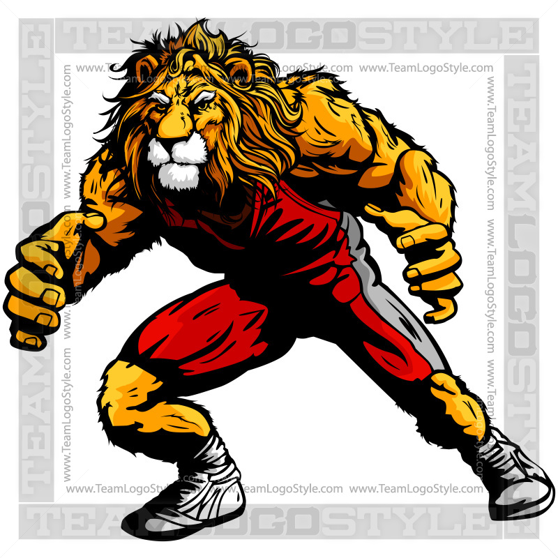 Wrestling mascot clipart image royalty free download Lion Wrestling Clip Art - Vector Clipart Lion image royalty free download