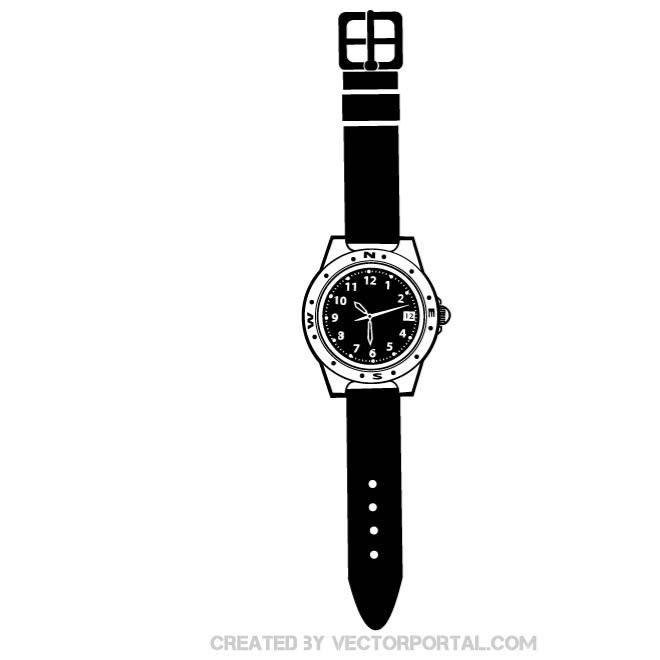 Wrist watch vector clipart clip royalty free BLACK WRIST WATCH VECTOR - Free vector image in AI and EPS ... clip royalty free