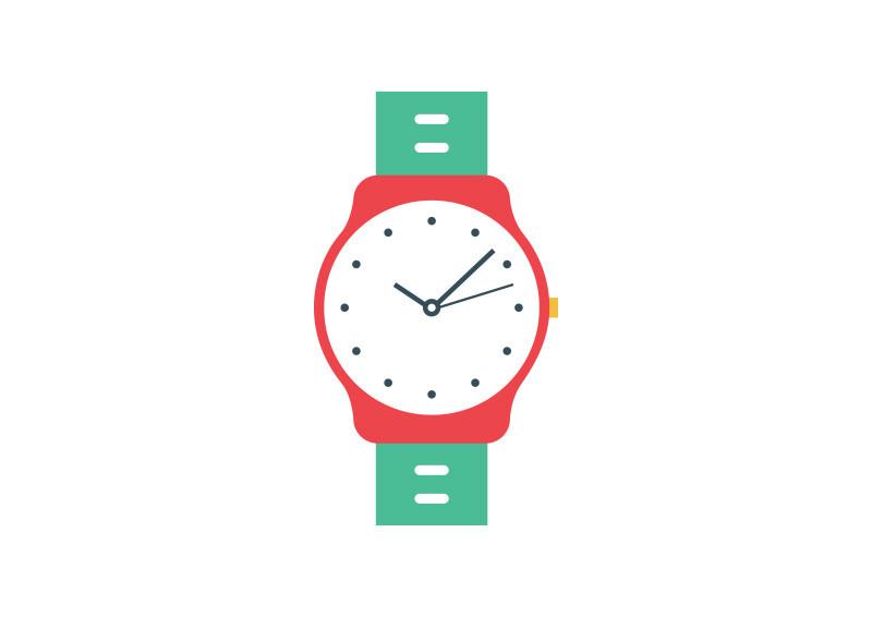 Wrist watch vector clipart banner download Wristwatch Flat Vector banner download