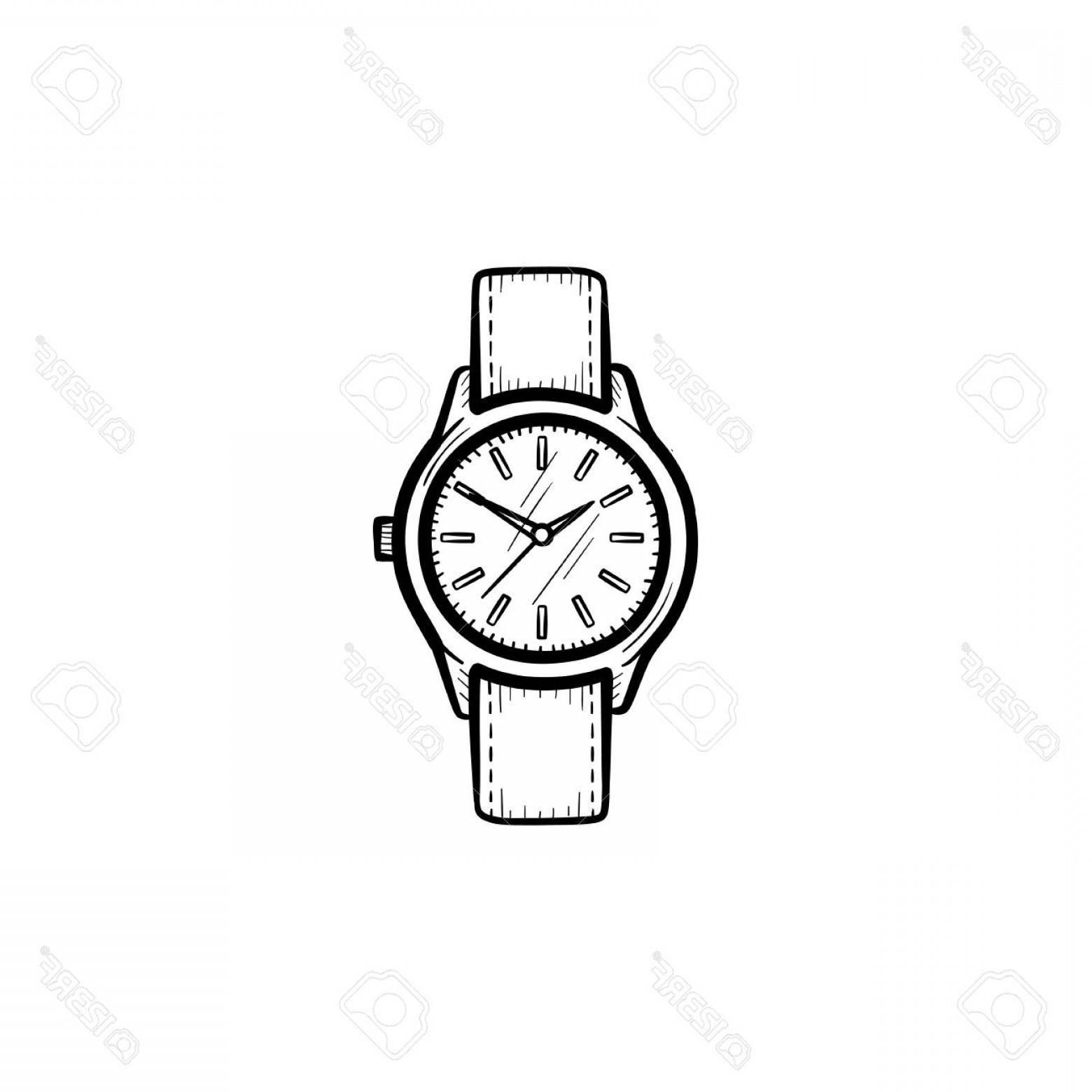 Wrist watch vector clipart clip freeuse library Photostock Vector A Vector Hand Drawn Wrist Watch Outline ... clip freeuse library