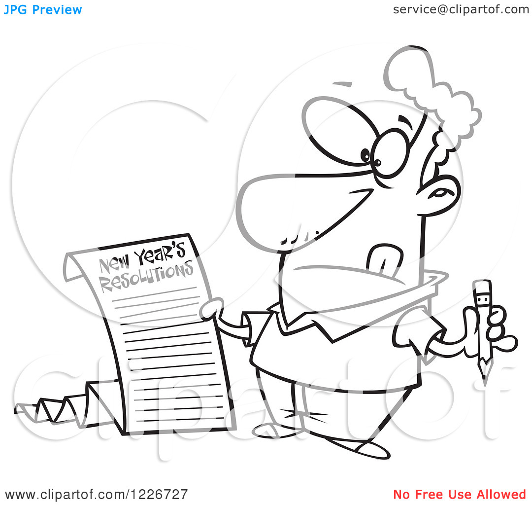 Writing a list clipart svg stock Clipart of a Cartoon Man Writing a Long New Years Resolutions List ... svg stock