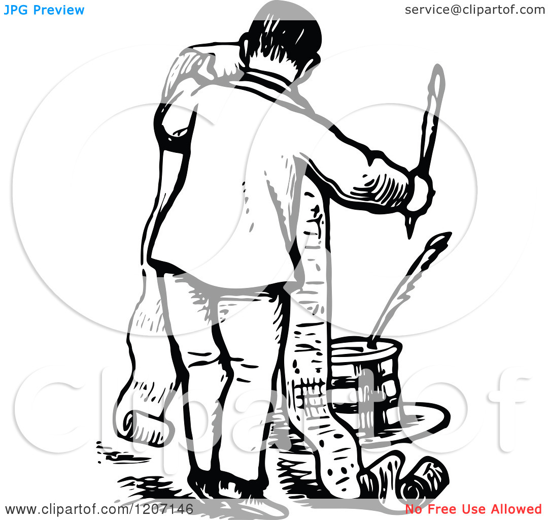 Writing a list clipart clipart free stock Clipart of a Vintage Black and White Man Writing a Long List ... clipart free stock