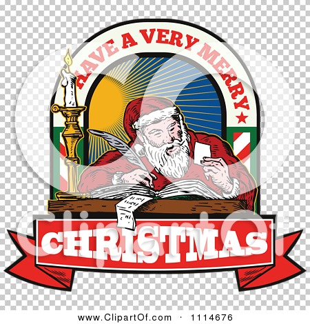 Writing a list clipart png black and white stock Clipart Retro Santa Writing A List With Have A Very Merry ... png black and white stock
