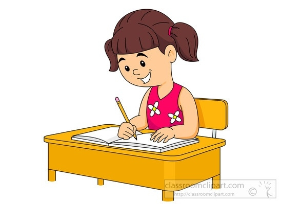 Wrting in notebook clipart clipart black and white stock School Clipart – Student-Sitting-At-Her-Desk-Writing-In ... clipart black and white stock