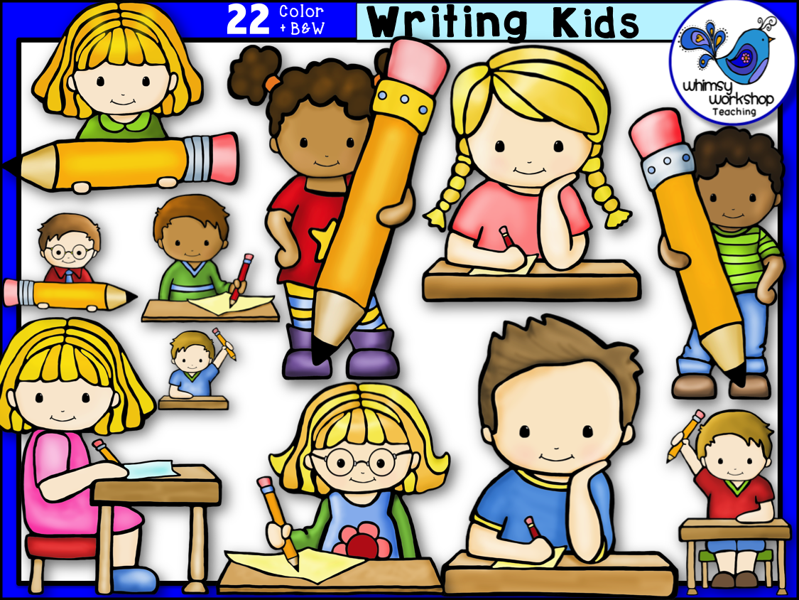 Writing class clipart picture black and white library Writing Kids Clip Art | classroom ideas | Art, Kids writing ... picture black and white library