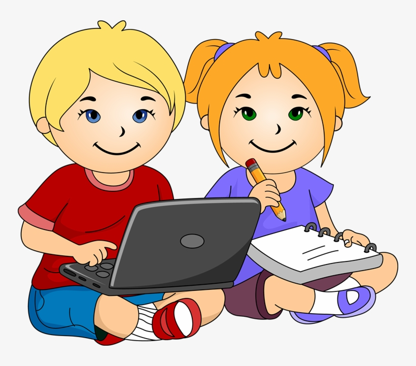 Writing clipart for kids vector royalty free library Laptop Clipart For Kids - Girl And Boy Writing Clipart ... vector royalty free library