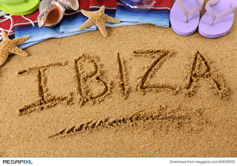Writing in sand clipart png freeuse Ibiza Beach Holiday Sand Word Writing Stock Photo 50628082 ... png freeuse