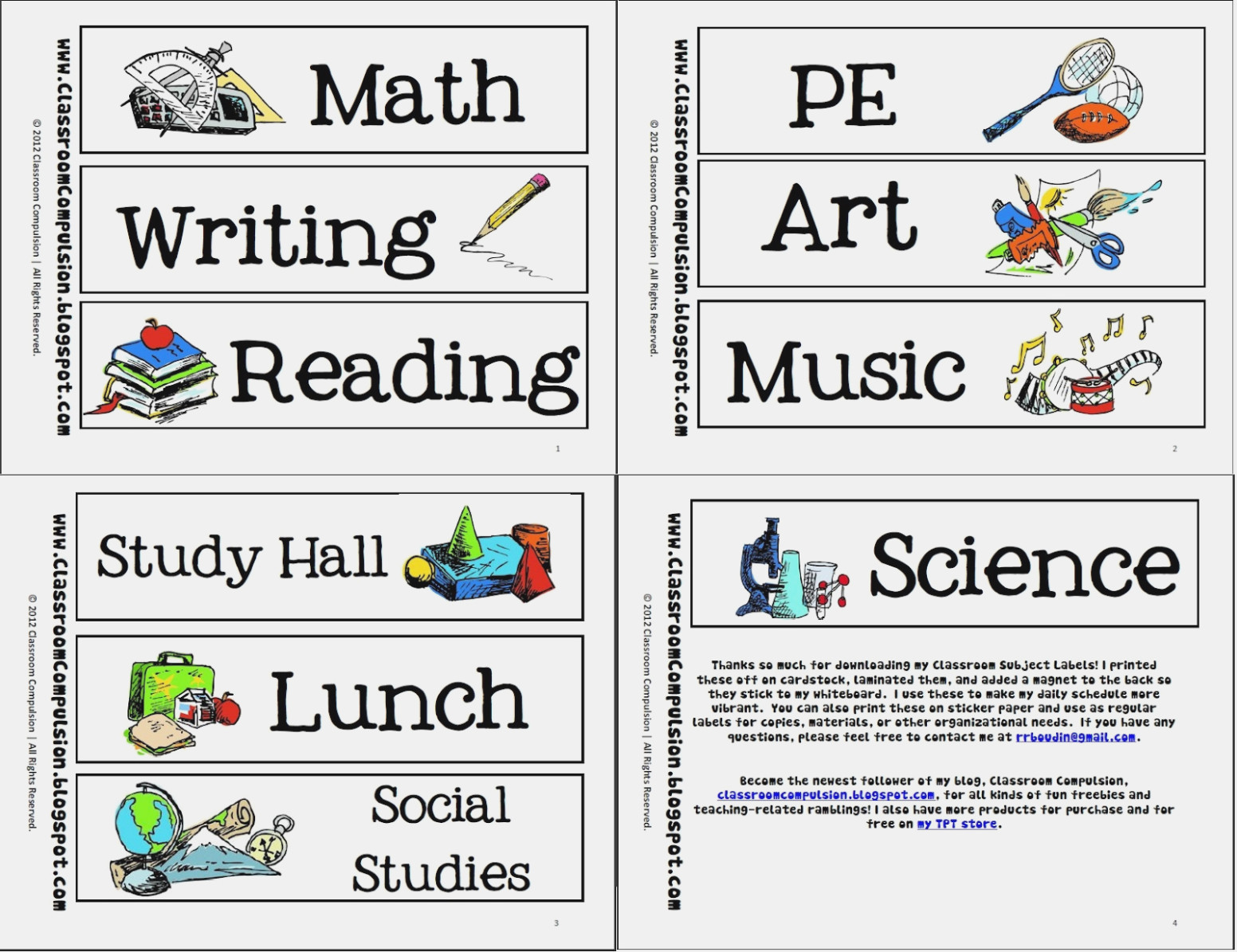 Writing labels clipart png library library School Subjects Labels Clipart – fun school labels png library library
