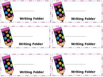 Writing labels clipart banner transparent Freebie!!--Writing Folder Labels | Kindergarten Beginning of ... banner transparent