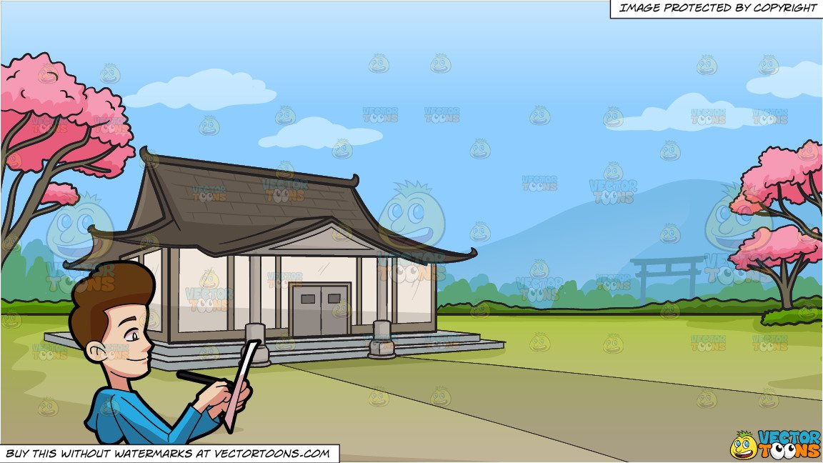 Writing paper with japanese clipart svg library download A Happy Man Writing Something On A Paper and A Traditional Japanese House  Background svg library download