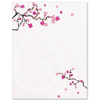 Writing paper with japanese clipart clipart freeuse library Japanese Cherry Blossom Letterhead Paper | home letter paper ... clipart freeuse library