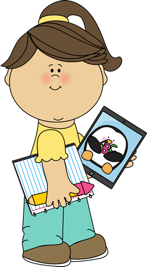 Writing tablet clipart kids graphic royalty free stock Girl with school supplies and a tablet from MyCuteGraphics ... graphic royalty free stock