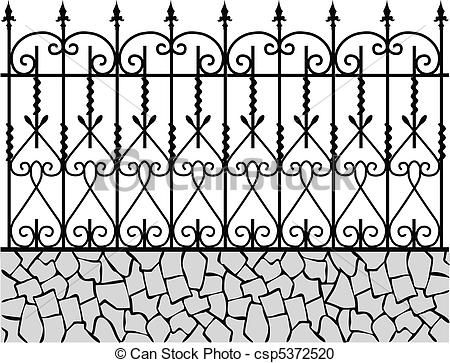 Wrought iron pattern clipart svg transparent library Vector - Wrought iron fence-1 - stock illustration, royalty ... svg transparent library