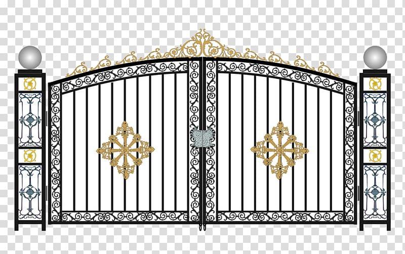 Wrought iron gate clipart jpg free White and black gate illustration, Window Gate Door Steel ... jpg free