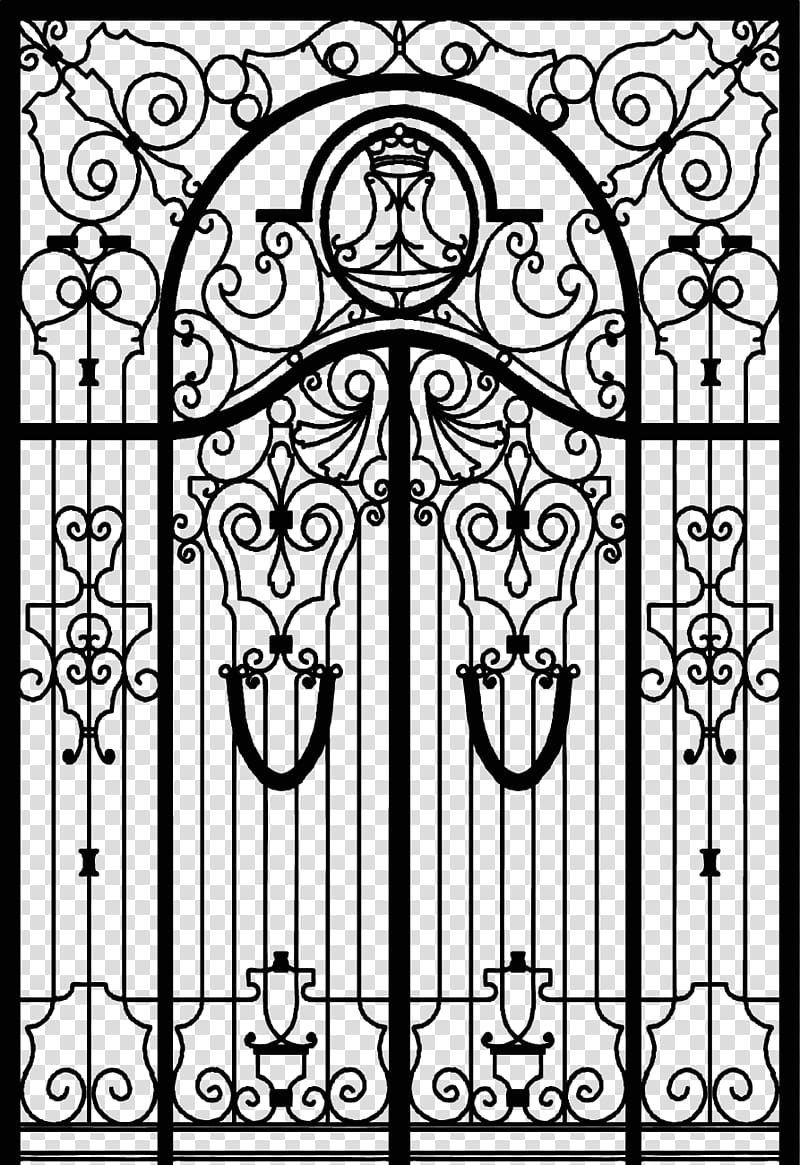 Wrought iron pattern clipart clip black and white Gate Wrought iron Fence, Continental door transparent ... clip black and white