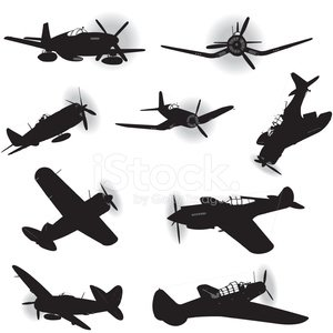 Ww 2 airplance usa clipart picture black and white stock US Air Force Fighter Planes World War Two stock vectors ... picture black and white stock
