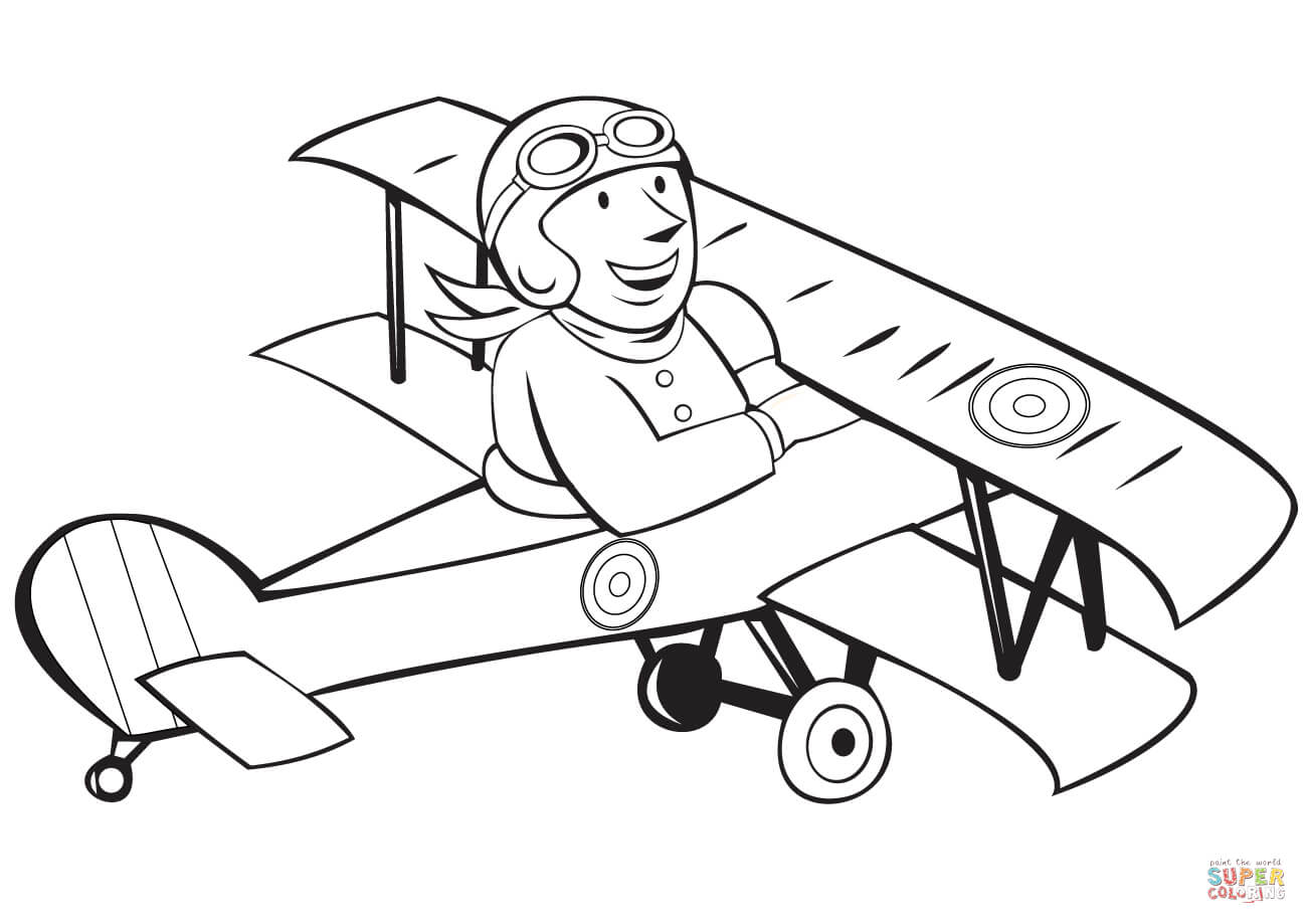 Ww1 clipart black and white transparent download WW1 French Pilot on Biplane coloring page   Free Printable ... transparent download