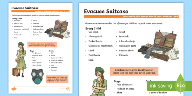 Ww2 evacuation clipart png royalty free library Scotland in the Second World War Evacuee Suitcase Fact File ... png royalty free library