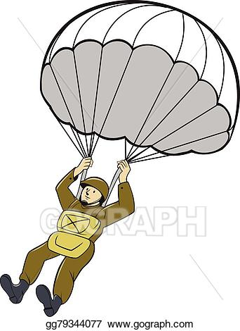 Ww2 paratrooper clipart clipart royalty free library Vector Stock - American paratrooper parachute cartoon ... clipart royalty free library