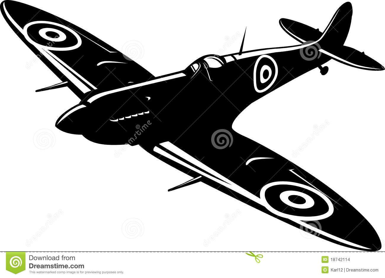 Wwii aircraft clipart p51 banner library stock p51 stencil | Vector illustration of a fighter Spitfire ... banner library stock