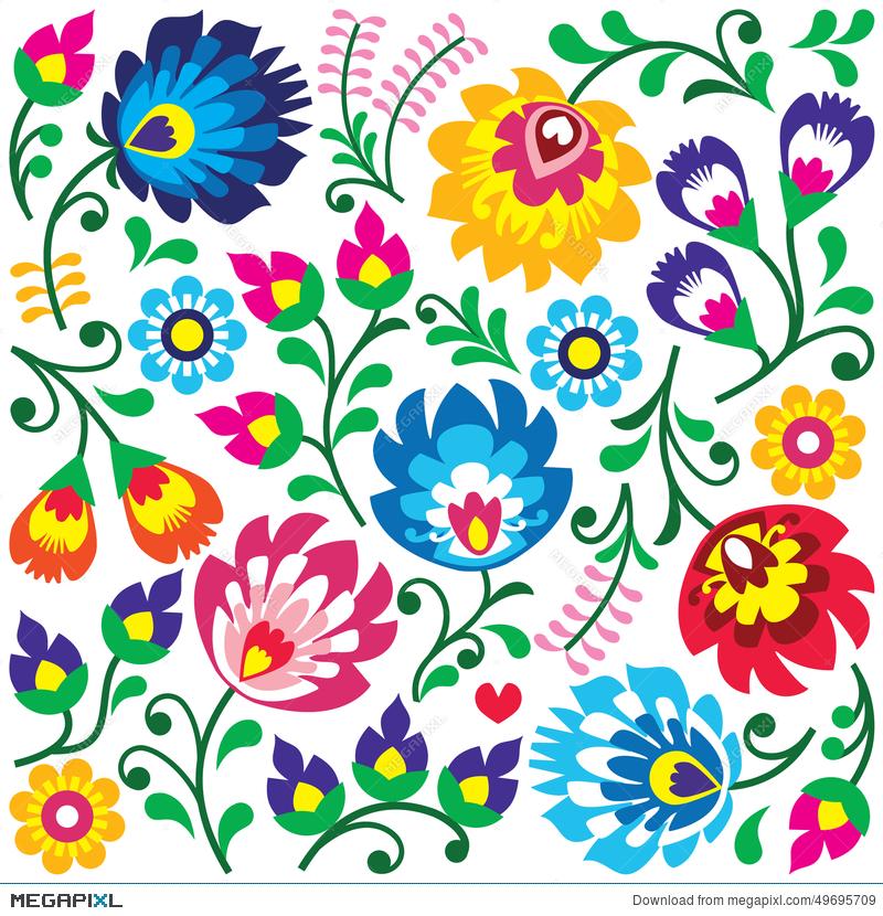 Wycinanki clipart clip art Floral Polish Folk Art Pattern In Square - Wzory Lowickie ... clip art