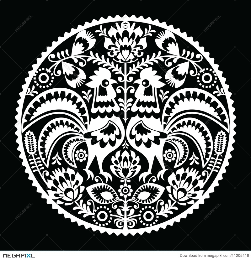 Wycinanki clipart image free Polish Folk Art Embroidery Pattern With Roosters - Wzory ... image free