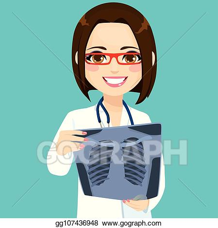 X ray clipart girls clip art freeuse download Vector Clipart - Female doctor checking xray. Vector ... clip art freeuse download
