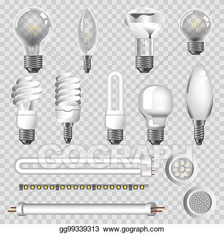 Xenon bulb clipart free download Vector Stock - 3d lamps types of led bulbs vector isolated ... free download