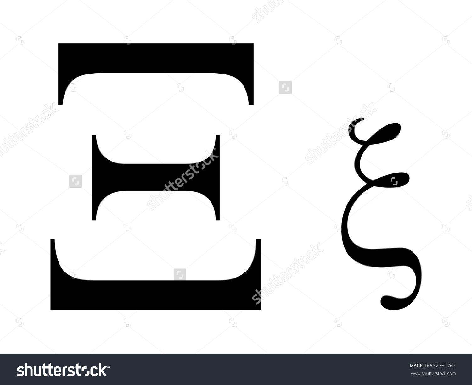 Xi greek letter clipart svg black and white library Vector Illustration Greek Letter Xi Stock Vector 582761767 ... svg black and white library