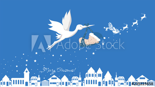 Xmass stork clipart free clip free Cute cartoon stork and baby. Vector illustration of a flying ... clip free