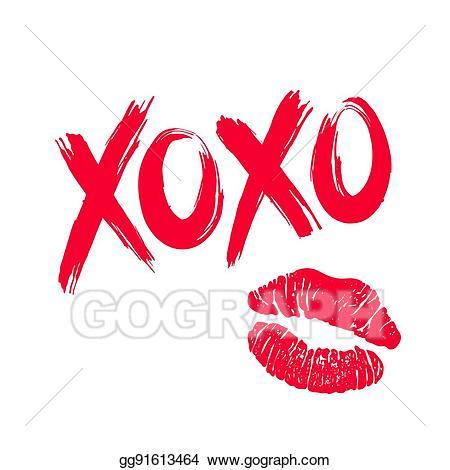 Xoxo clipart image free stock Vector Art - Xoxo and lipstick kiss. Clipart Drawing ... image free stock