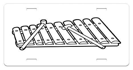 Xylophone black and white clipart clipart download Amazon.com: Lunarable Xylophone License Plate, Percussion ... clipart download