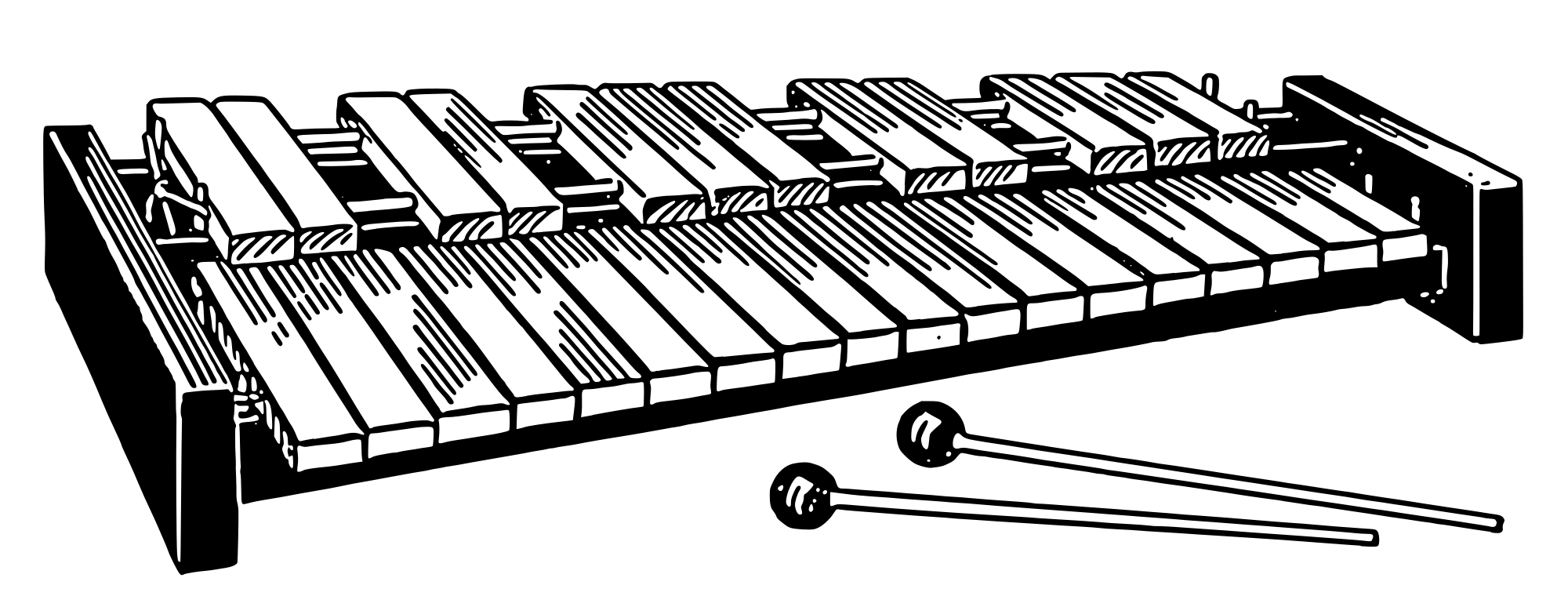 Xylophone black and white clipart freeuse stock Xylophone Black and White Clipart transparent PNG - StickPNG freeuse stock