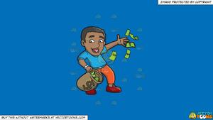 Yanking money bag clipart banner black and white stock Clipart: A Black Guy Happily Throws His Money Away on a Solid Spanish Blue  016Fb9 Background banner black and white stock