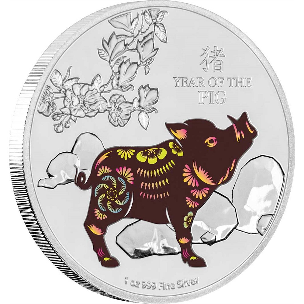 Year of the pig 2019 clipart graphic library stock Lunar Silver Coin - Year of the Pig 2019 graphic library stock