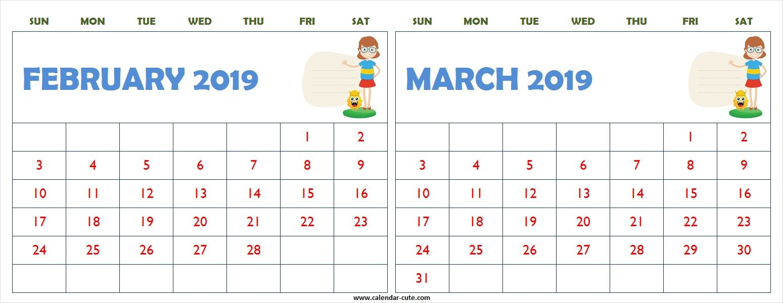 February 15 clipart picture royalty free stock February March 2019 Calendar Clipart Printable | February ... picture royalty free stock