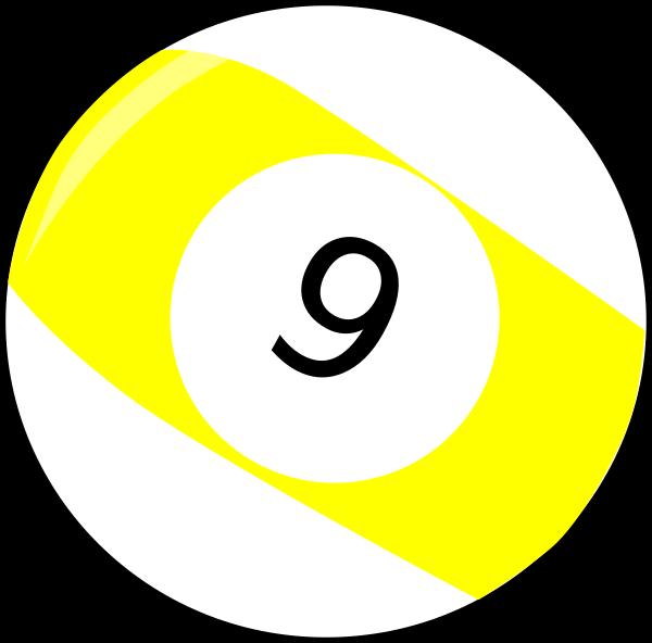 Yellow 9 ball clipart banner freeuse library Nine Billiard Ball Clip Art at Clker.com - vector clip art ... banner freeuse library