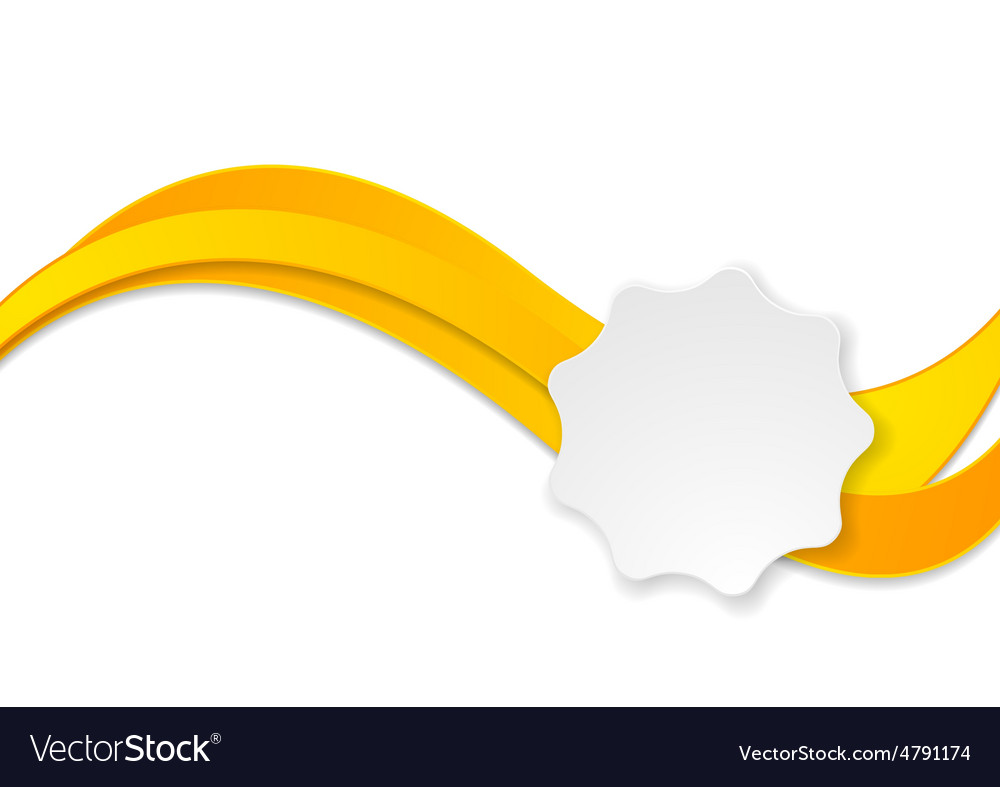Yellow and white label clipart picture black and white download Orange waves and white label sticker picture black and white download