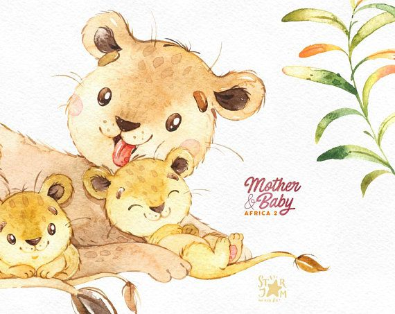 Yellow baby oppossum clipart black and white download Mother & Baby. Africa 2. Watercolor animals clipart, giraffe ... black and white download