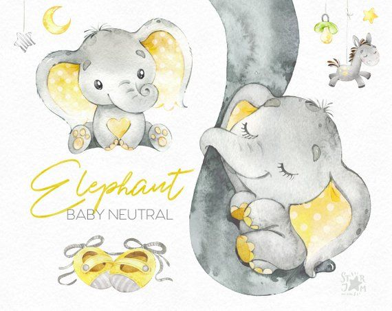 Yellow baby oppossum clipart clipart library library Elephant Baby neutral. Watercolor little animal clipart ... clipart library library