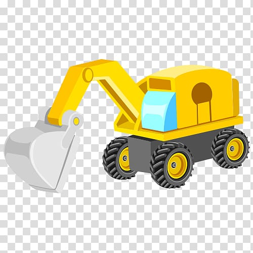 Yellow backhoe solid clipart png transparent library Boy riding excavator with dog under it, Heavy equipment ... png transparent library