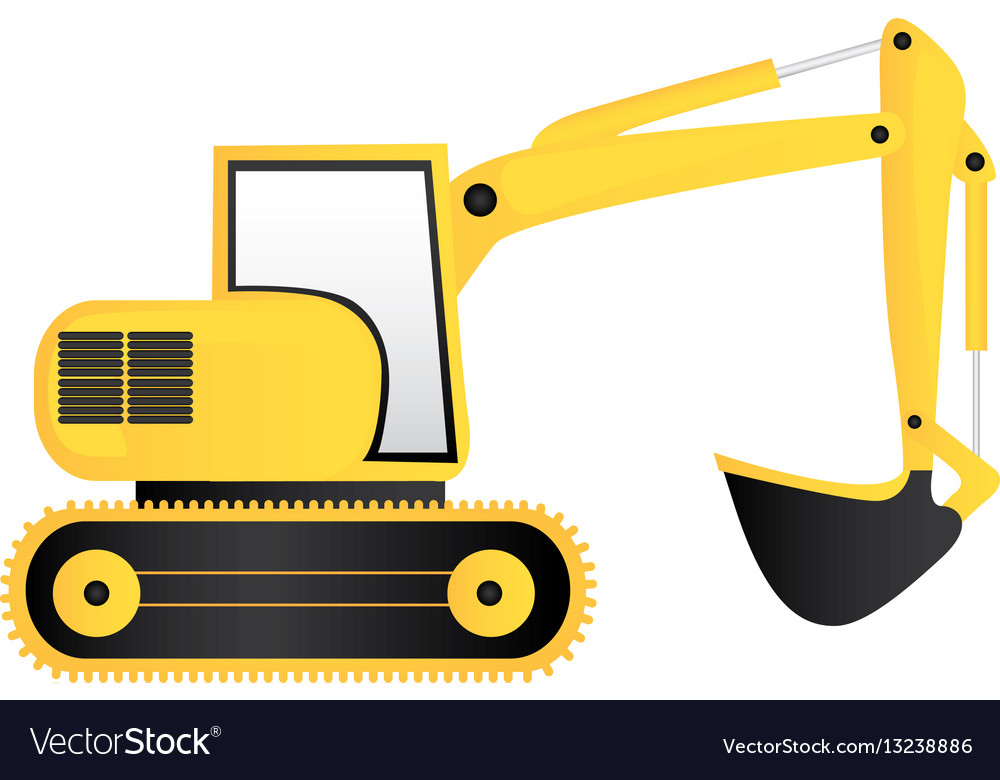 Yellow backhoe solid clipart picture stock Color backhoe loader icon picture stock