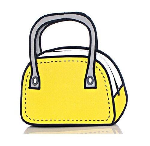 Yellow bag clipart vector stock Fashion Design Mixed Color 3D Cartoon Bag Creative Hand Bag (Yellow) vector stock