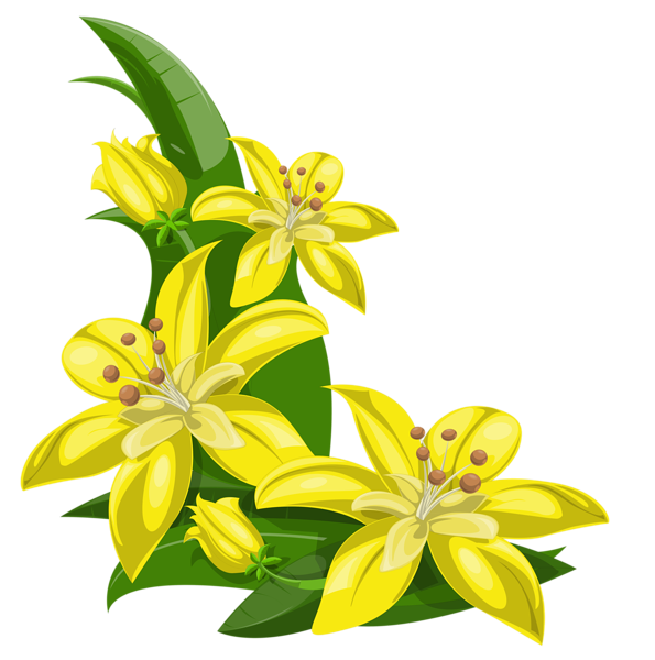 Yellow bell flower clipart clip freeuse library Yellow Exotic Flowers Decoration PNG Image | Boarders, Corners ... clip freeuse library