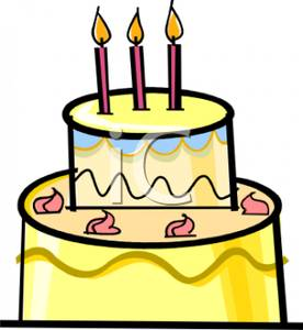 Yellow birthday cake clipart picture black and white Birthday Cake With Three Candles - Royalty Free Clipart Picture picture black and white