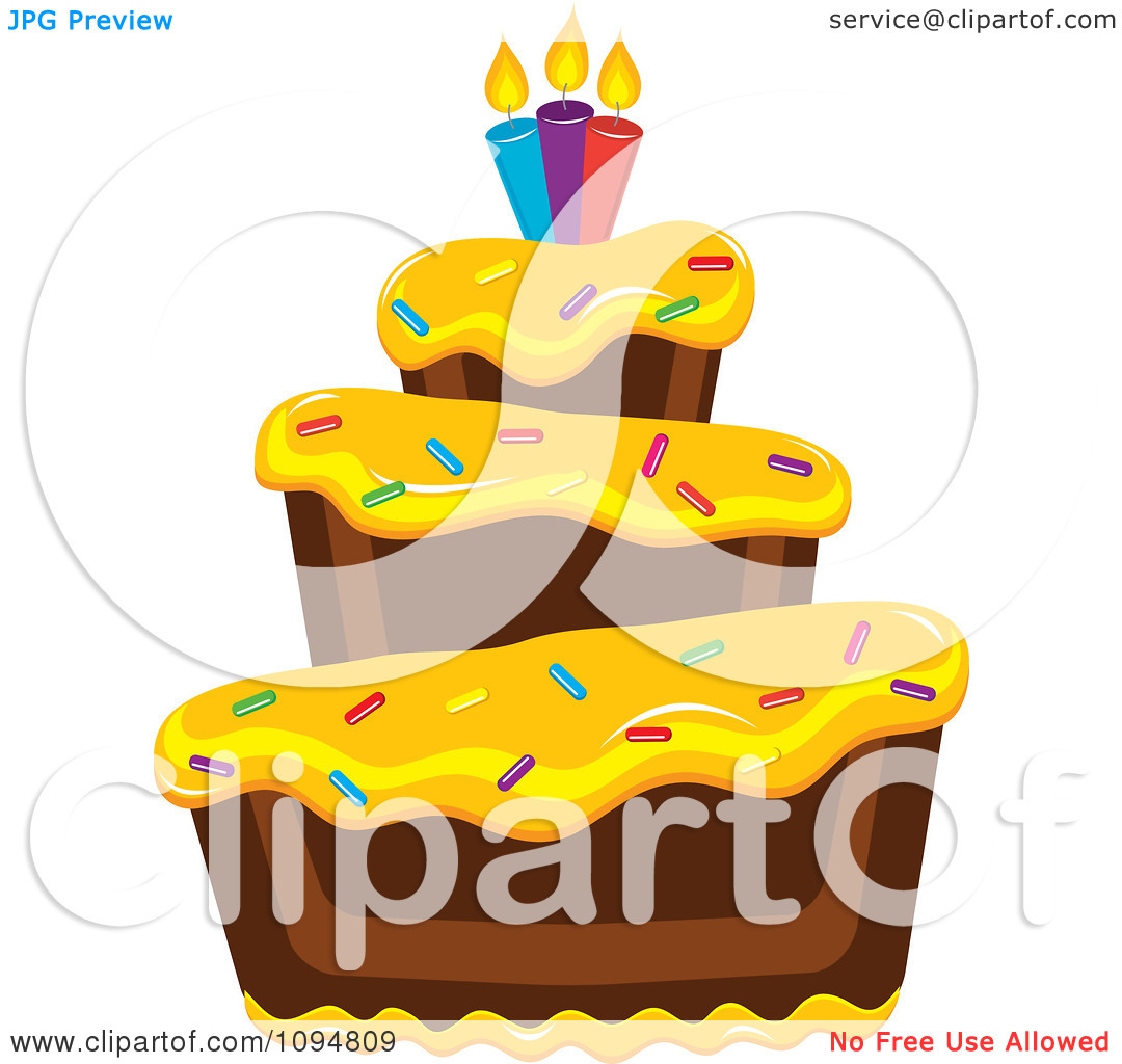 Yellow birthday cake clipart clipart transparent library Clipart Funky Tiered Chocolate Cake With Yellow Frosting Birthday ... clipart transparent library